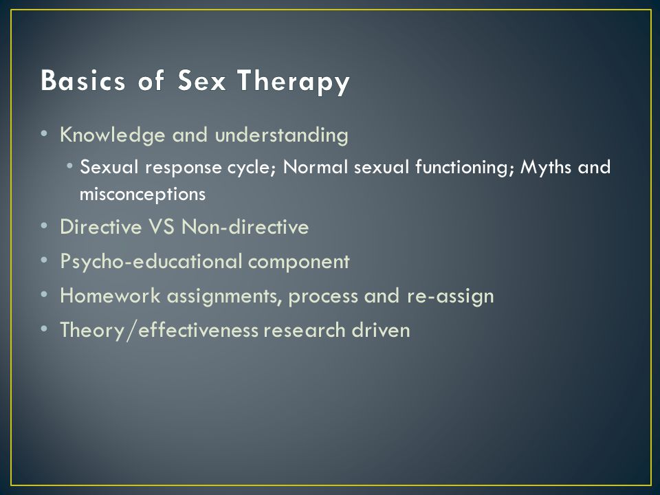 Knowledge and understanding Sexual response cycle; Normal sexual functioning; Myths and misconceptions Directive VS Non-directive Psycho-educational c