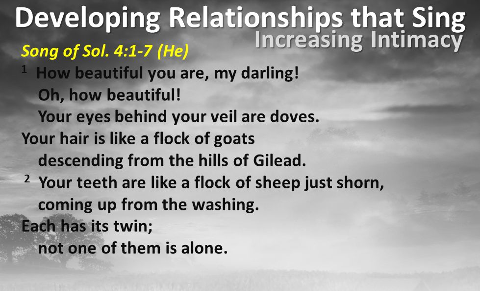 Developing Relationships that Sing Song of Sol.4:1-15 (He) 9 You have stolen my heart, my bride...