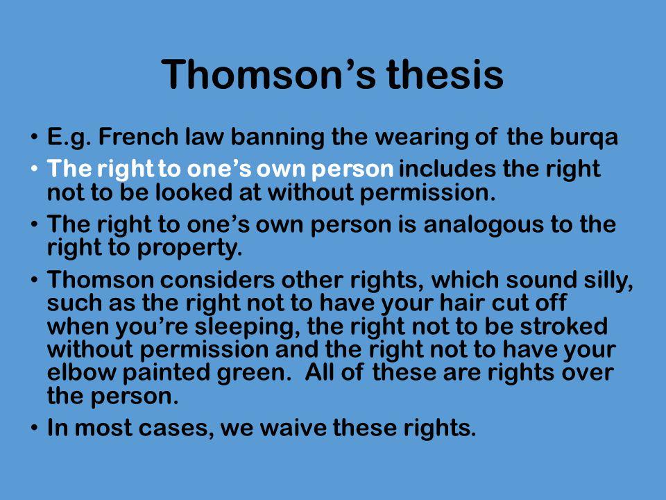 Thomson's thesis E.g.