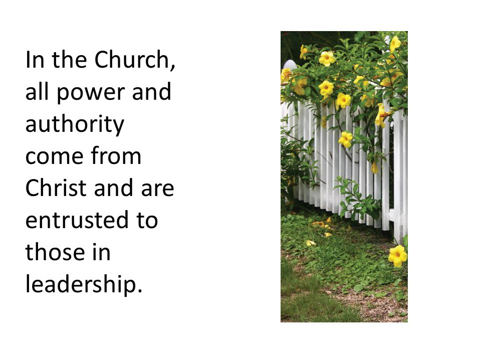 In the Church, all power and authority come from Christ and are entrusted to those in leadership.
