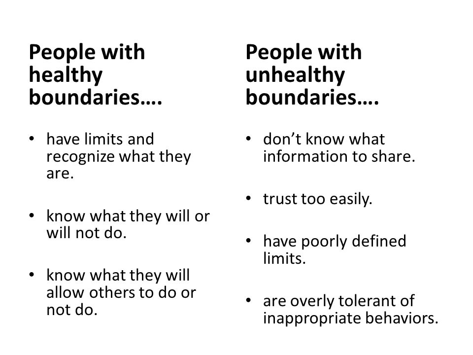 People with healthy boundaries…. have limits and recognize what they are.