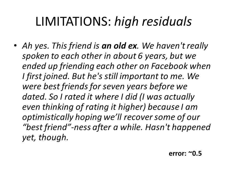 LIMITATIONS: high residuals Ah yes.This friend is an old ex.