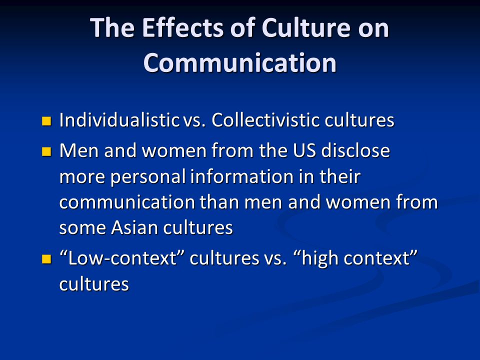 The Effects of Culture on Communication Individualistic vs.