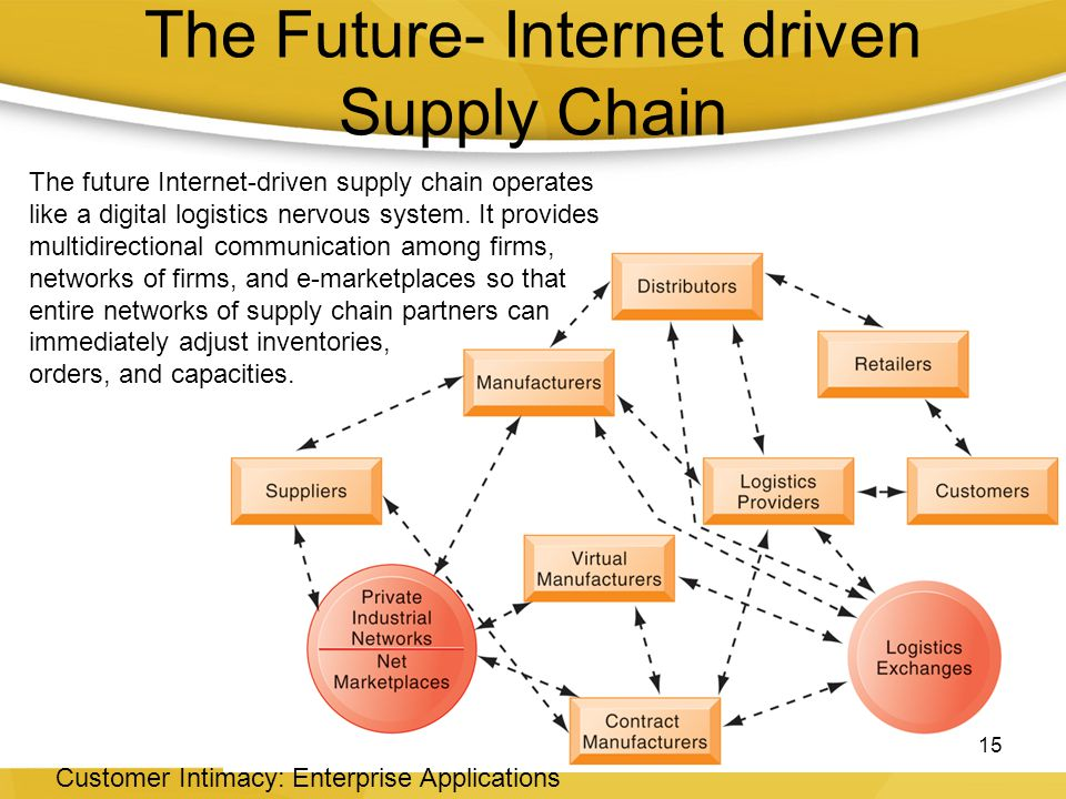 The Future- Internet driven Supply Chain 15 Customer Intimacy: Enterprise Applications The future Internet-driven supply chain operates like a digital logistics nervous system.