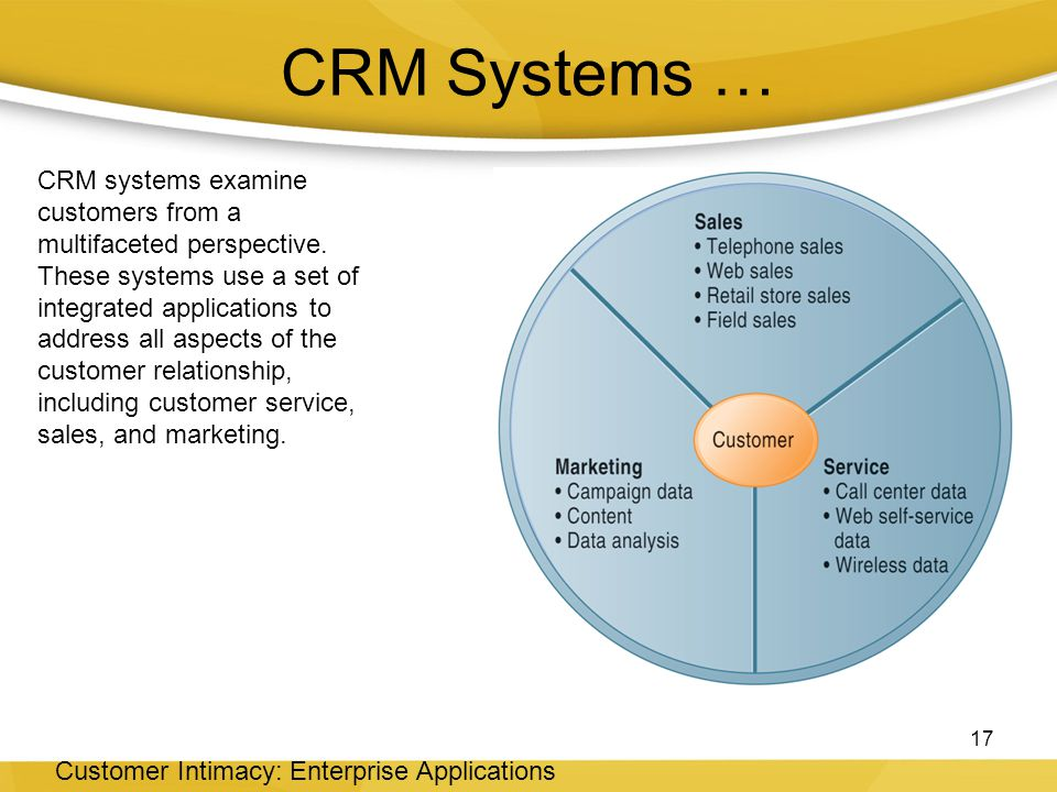 CRM Systems … 17 Customer Intimacy: Enterprise Applications CRM systems examine customers from a multifaceted perspective.