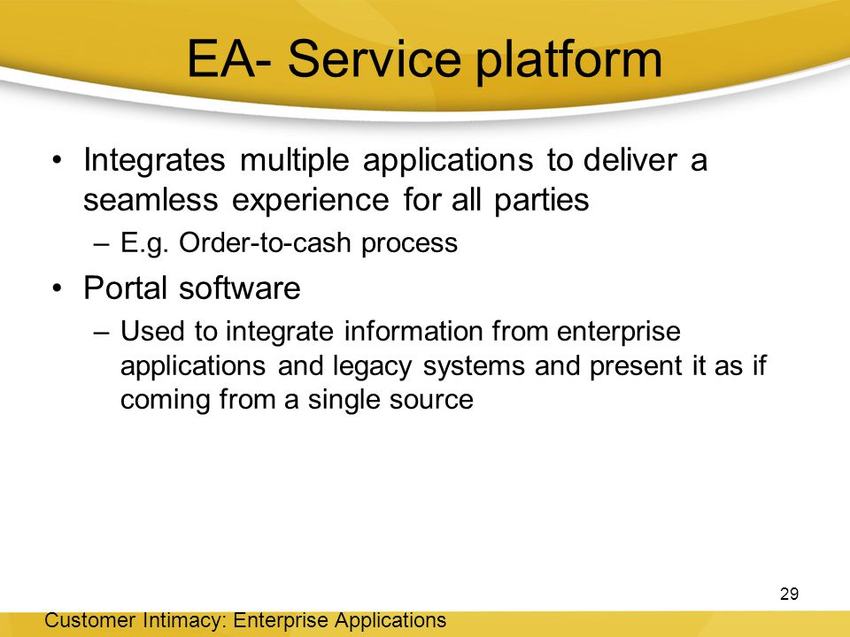 EA- Service platform Integrates multiple applications to deliver a seamless experience for all parties –E.g.