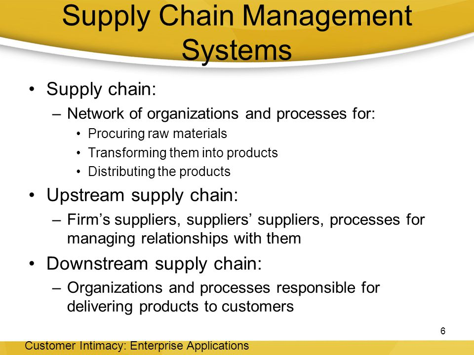 Supply Chain Management Systems Supply chain: –Network of organizations and processes for: Procuring raw materials Transforming them into products Distributing the products Upstream supply chain: –Firm's suppliers, suppliers' suppliers, processes for managing relationships with them Downstream supply chain: –Organizations and processes responsible for delivering products to customers 6 Customer Intimacy: Enterprise Applications