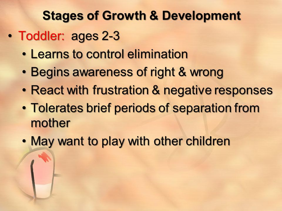 Stages of Growth & Development Preschool: ages 3-5 yearsPreschool: ages 3-5 years Builds on motor & verbal skills already developedBuilds on motor & verbal skills already developed Develops rivalries with siblingsDevelops rivalries with siblings Gradually increases cooperative playGradually increases cooperative play Improves language skillsImproves language skills Develops more active imaginationDevelops more active imagination Becomes more sexually curiousBecomes more sexually curious