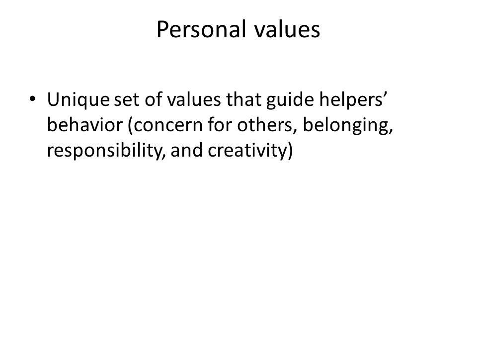 Personal values Unique set of values that guide helpers' behavior (concern for others, belonging, responsibility, and creativity)