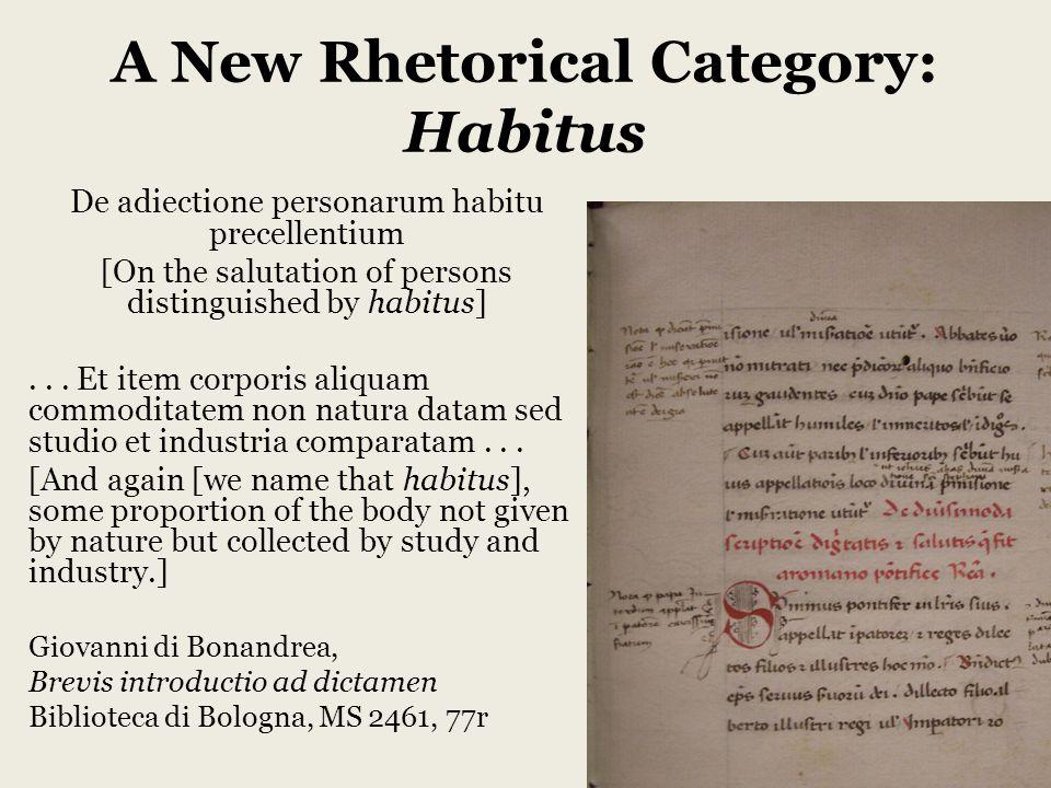 A New Rhetorical Category: Habitus De adiectione personarum habitu precellentium [On the salutation of persons distinguished by habitus]...
