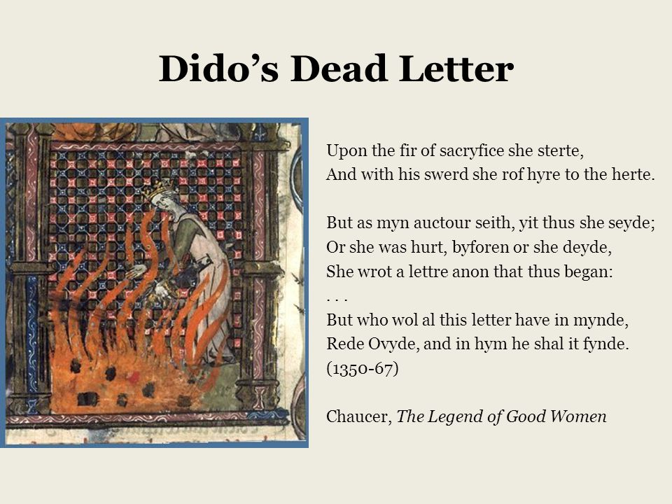 Dido's Dead Letter Upon the fir of sacryfice she sterte, And with his swerd she rof hyre to the herte.