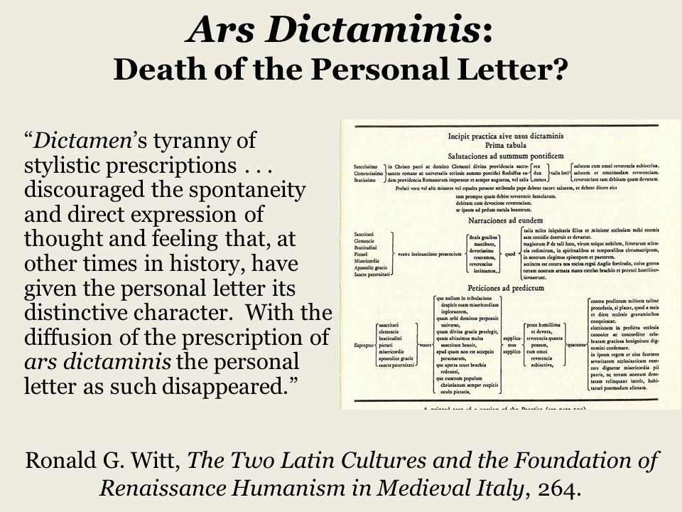 Dictamen's tyranny of stylistic prescriptions...
