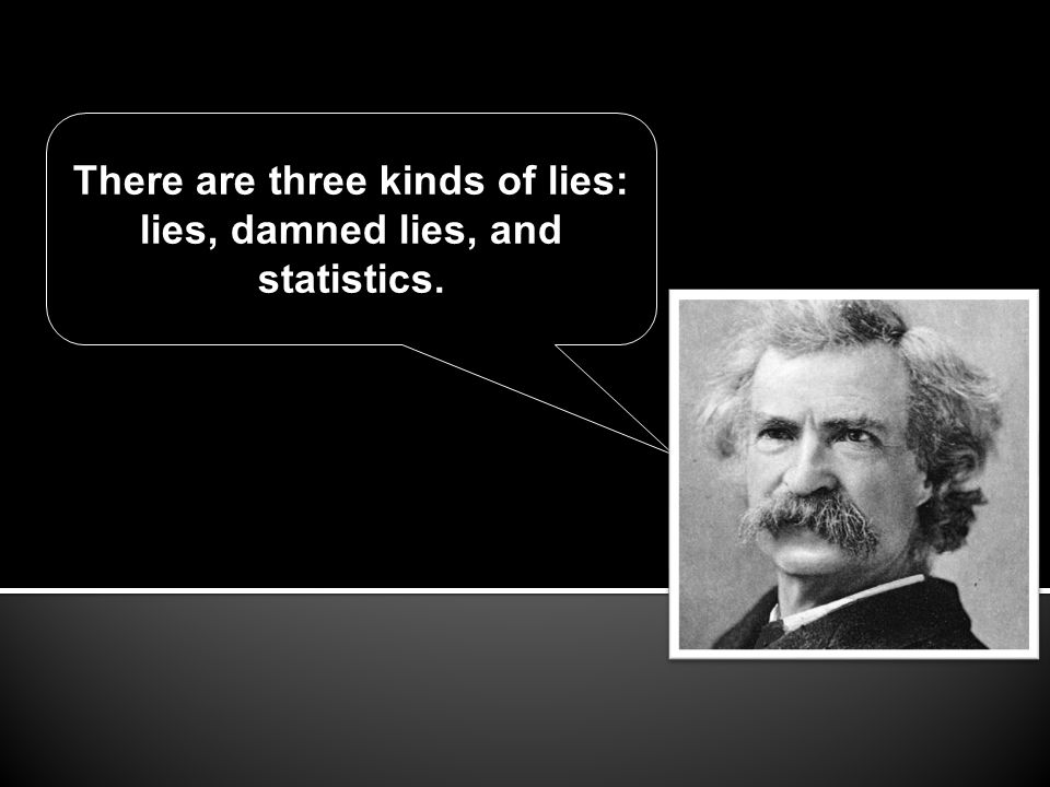 There are three kinds of lies: lies, damned lies, and statistics.