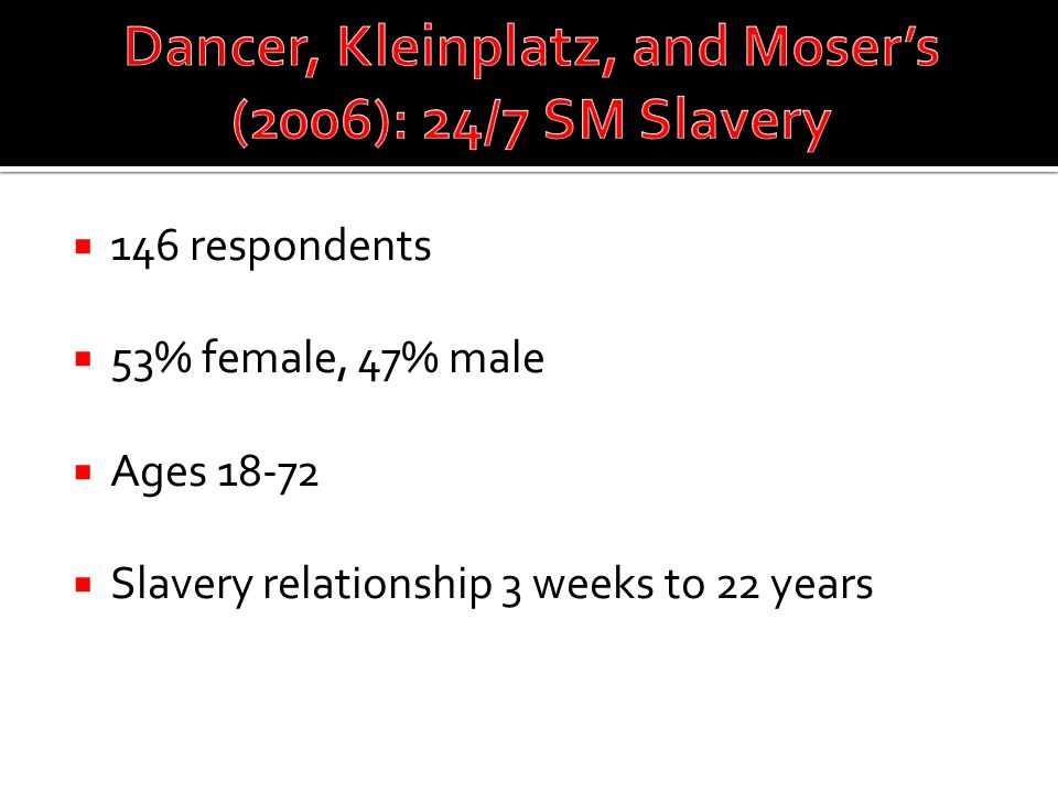  146 respondents  53% female, 47% male  Ages 18-72  Slavery relationship 3 weeks to 22 years