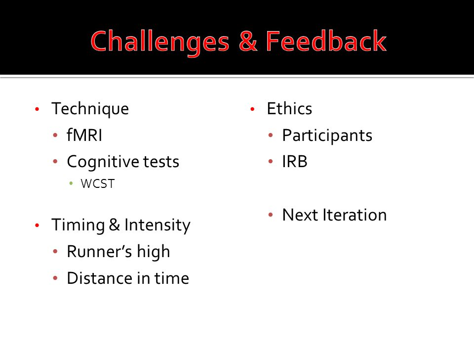 Technique fMRI Cognitive tests WCST Timing & Intensity Runner's high Distance in time Ethics Participants IRB Next Iteration
