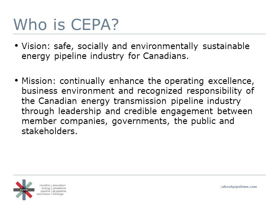 aboutpipelines.com Who is CEPA.