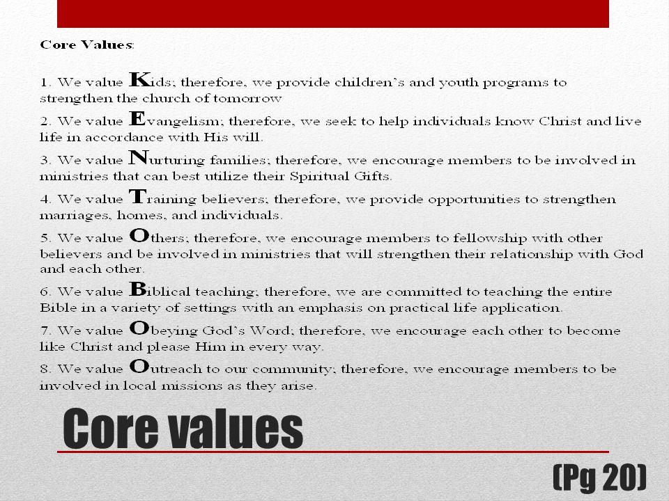 Core values (Pg 20)