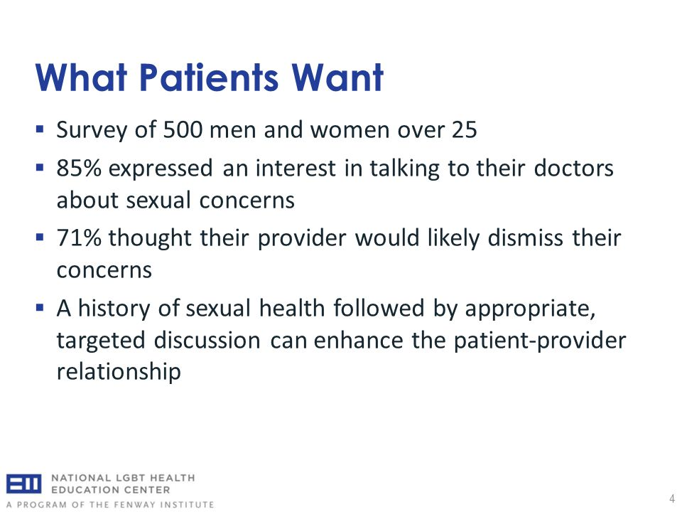 What Patients Want 4  Survey of 500 men and women over 25  85% expressed an interest in talking to their doctors about sexual concerns  71% thought