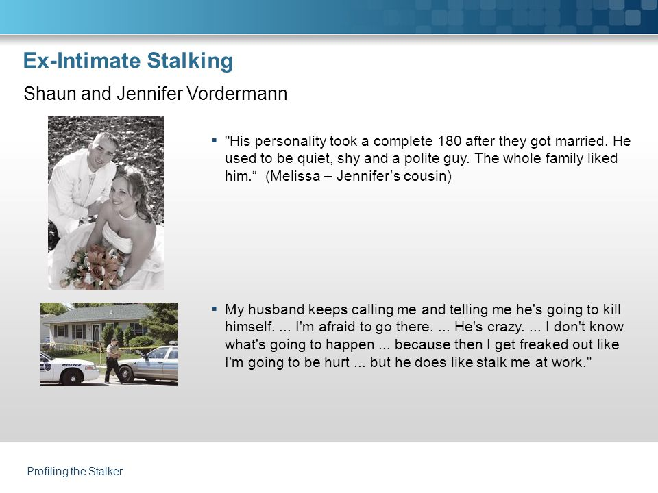 Profiling the Stalker Ex-Intimate Stalking  His personality took a complete 180 after they got married.