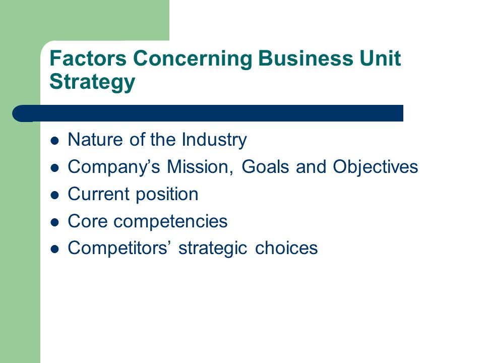 Factors Concerning Business Unit Strategy Nature of the Industry Company's Mission, Goals and Objectives Current position Core competencies Competitors' strategic choices