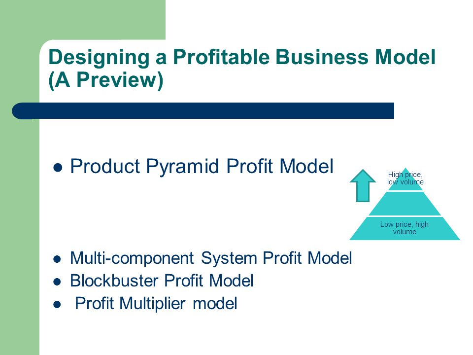 Designing a Profitable Business Model (A Preview) Product Pyramid Profit Model Multi-component System Profit Model Blockbuster Profit Model Profit Multiplier model High price, low volume Low price, high volume
