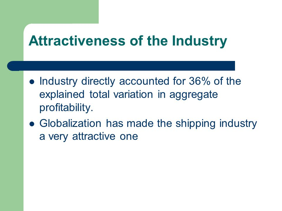 Attractiveness of the Industry Industry directly accounted for 36% of the explained total variation in aggregate profitability.