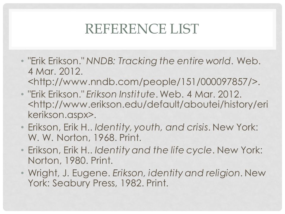 REFERENCE LIST Erik Erikson. NNDB: Tracking the entire world.