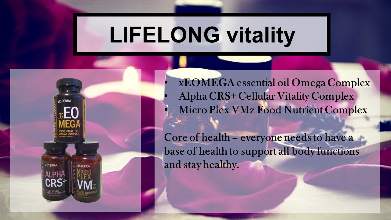 LIFELONG vitality xEOMEGA essential oil Omega Complex Alpha CRS+ Cellular Vitality Complex Micro Plex VMz Food Nutrient Complex Core of health – every
