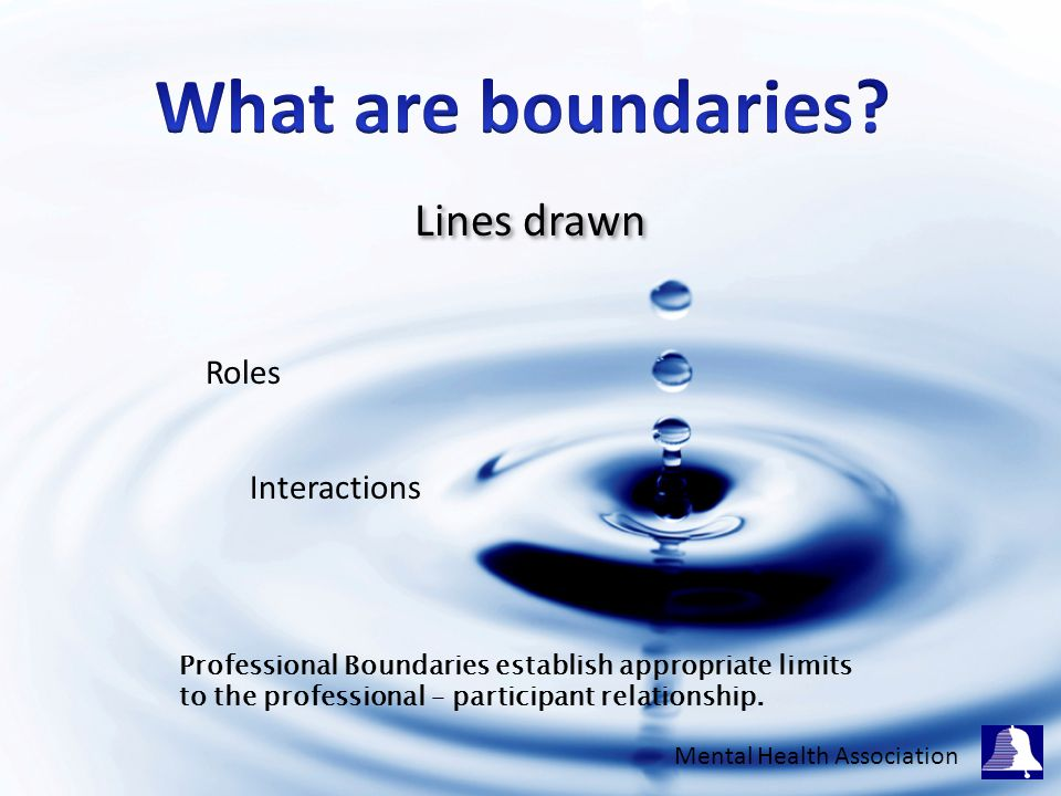 Lines drawn Roles Interactions Professional Boundaries establish appropriate limits to the professional – participant relationship.