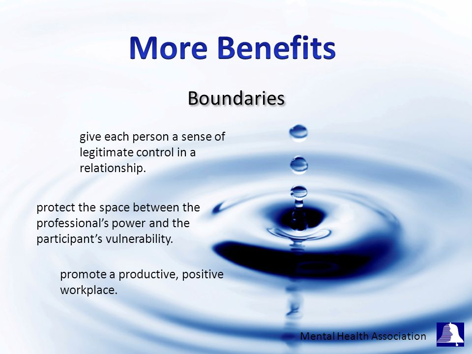 Boundaries give each person a sense of legitimate control in a relationship.