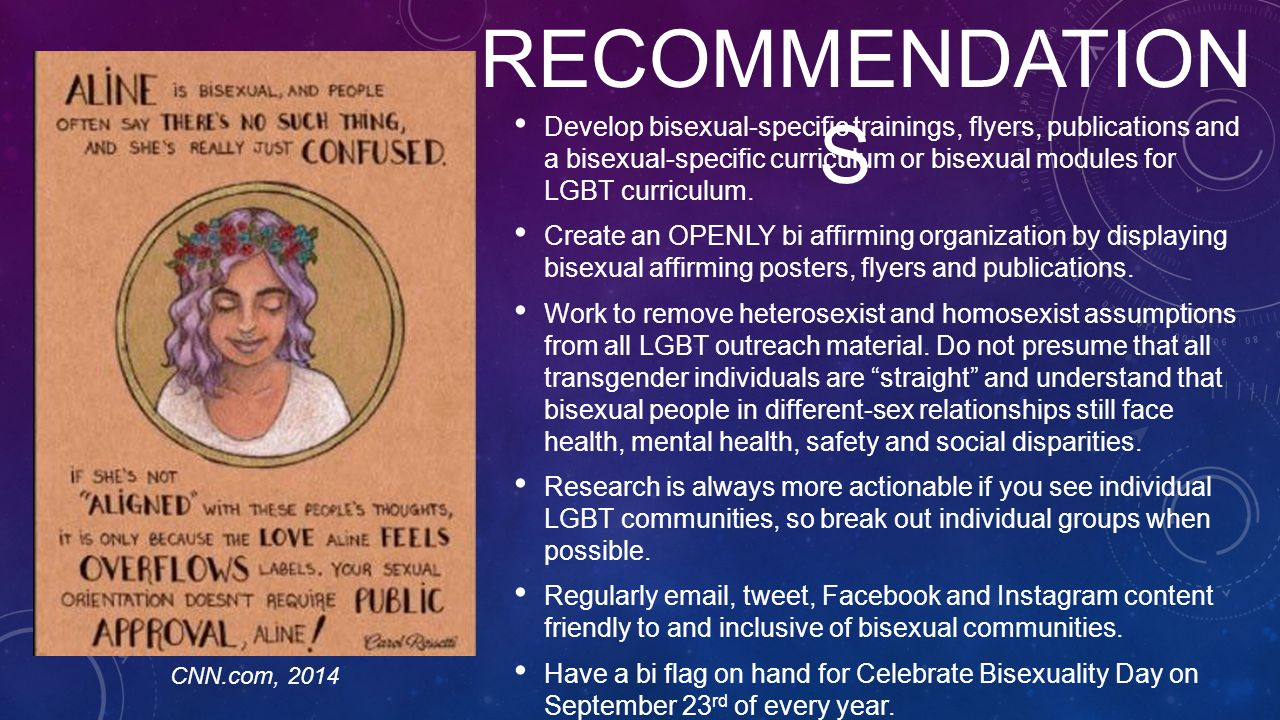 Develop bisexual-specific trainings, flyers, publications and a bisexual-specific curriculum or bisexual modules for LGBT curriculum.