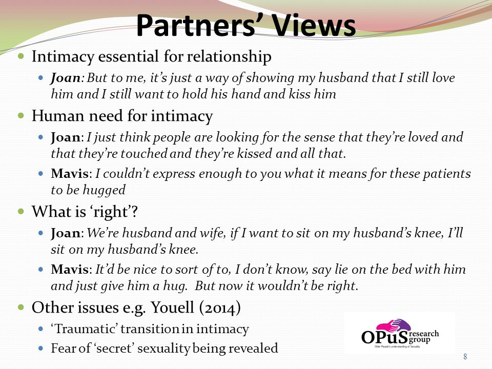 Partners' Views Intimacy essential for relationship Joan: But to me, it's just a way of showing my husband that I still love him and I still want to h