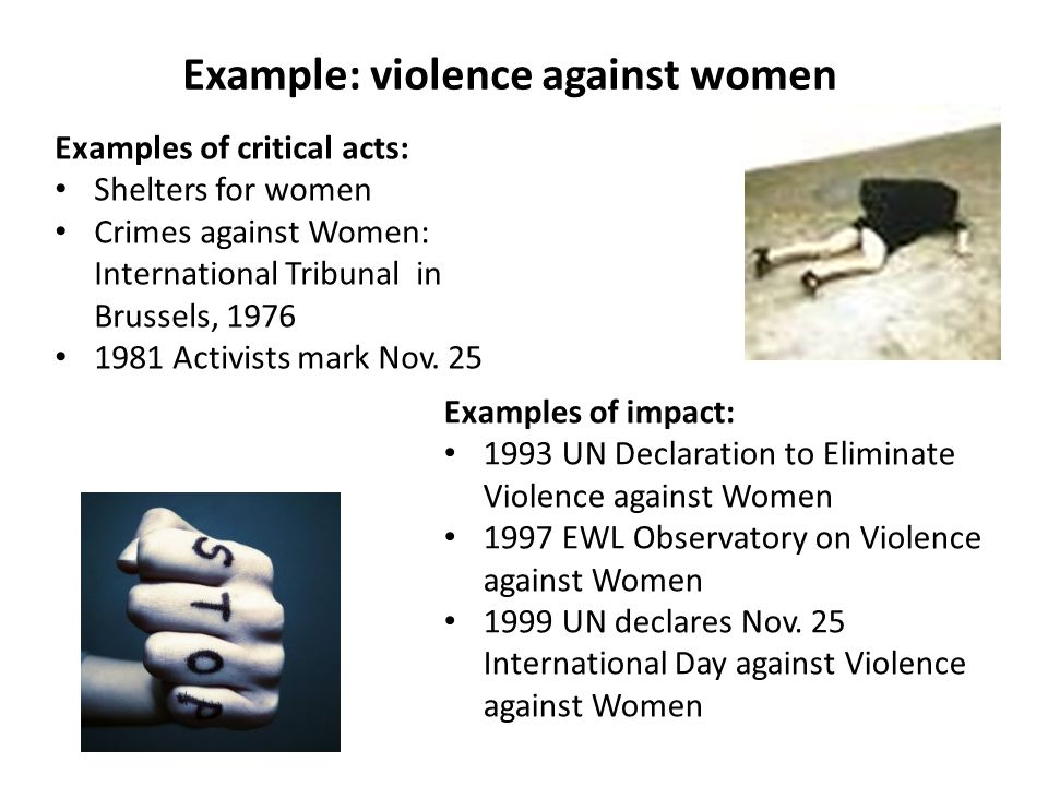 Example: violence against women Examples of critical acts: Shelters for women Crimes against Women: International Tribunal in Brussels, 1976 1981 Activists mark Nov.