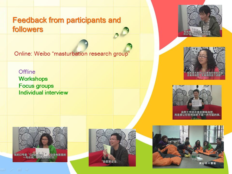 Feedback from participants and followers Online: Weibo masturbation research group Offline Workshops Focus groups Individual interview