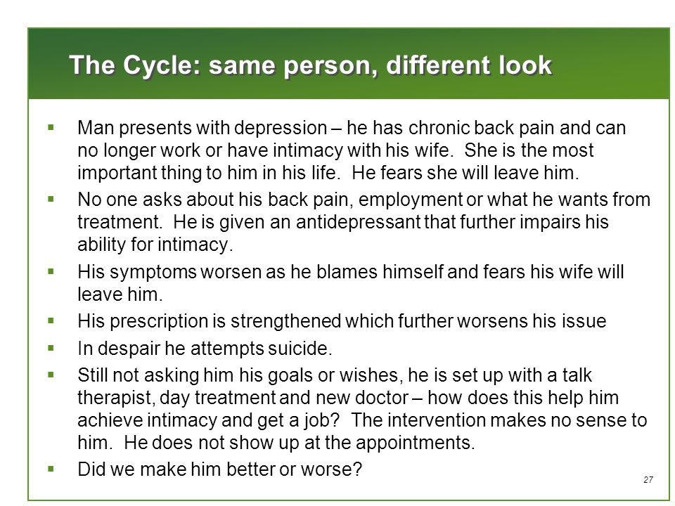27 The Cycle: same person, different look  Man presents with depression – he has chronic back pain and can no longer work or have intimacy with his wife.