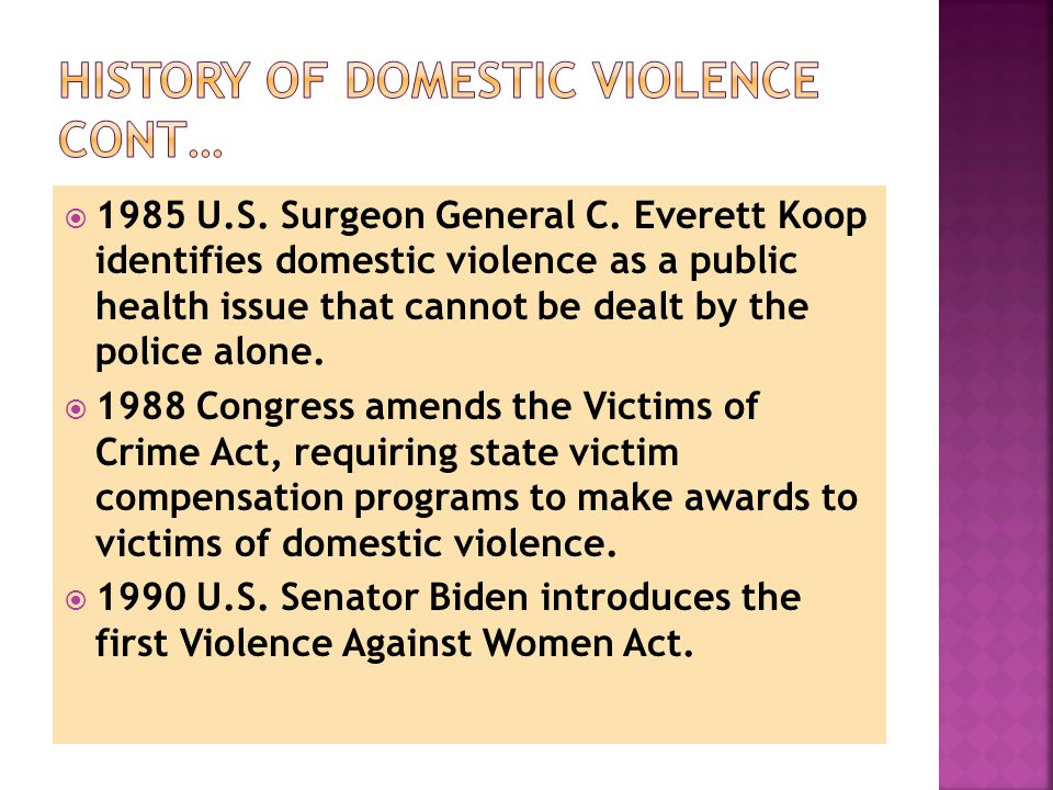  September 13, 1994 Violence Against Women Act is signed into law as part of the Violent Crime Control and Law Enforcement Act of 1994.