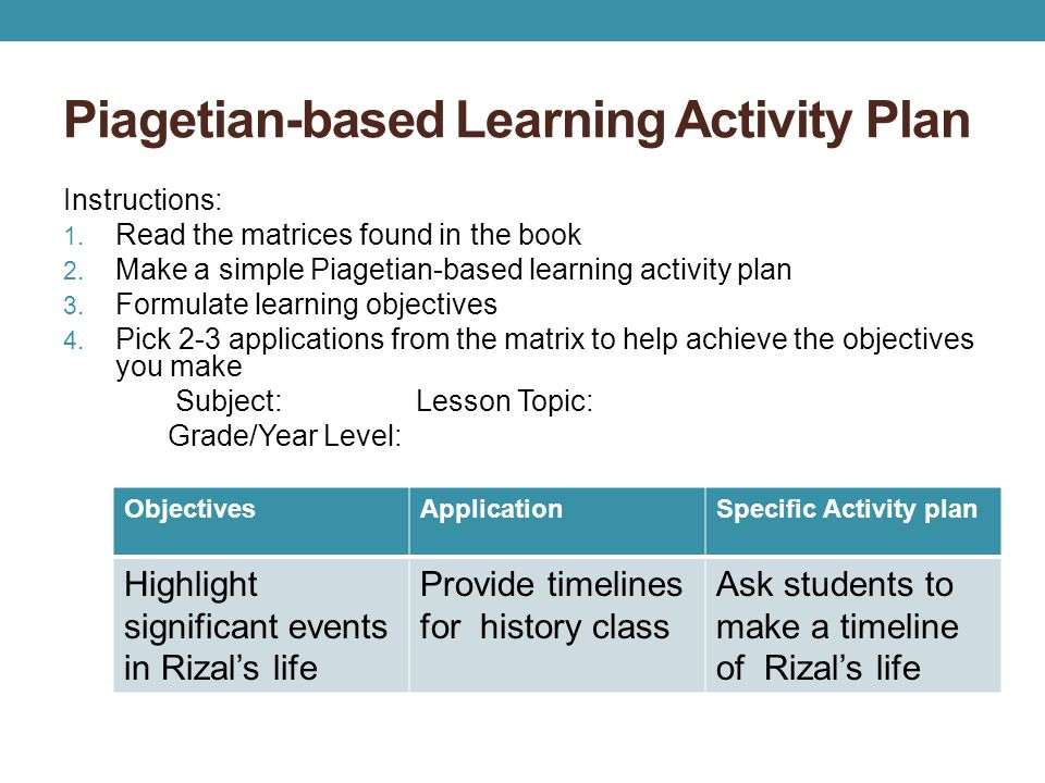 Piagetian-based Learning Activity Plan Instructions: 1. Read the matrices found in the book 2. Make a simple Piagetian-based learning activity plan 3.