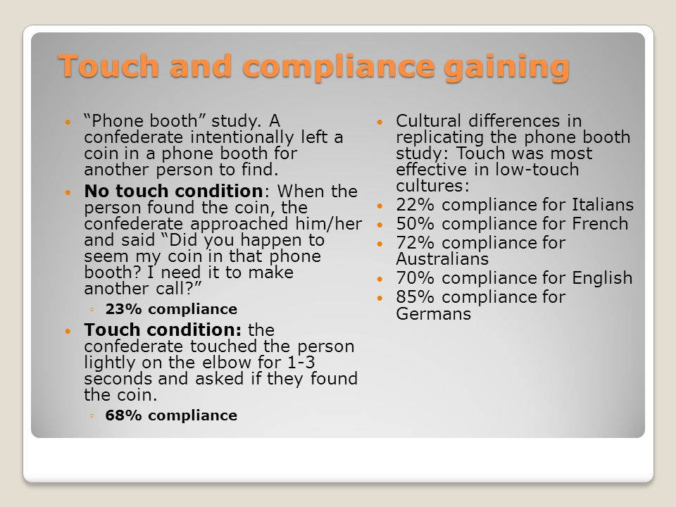 Touch and compliance gaining Phone booth study.