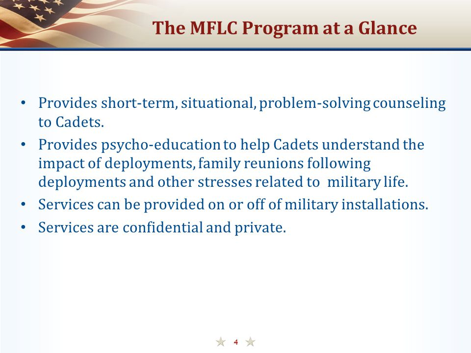 The MFLC Program at a Glance Provides short-term, situational, problem-solving counseling to Cadets.