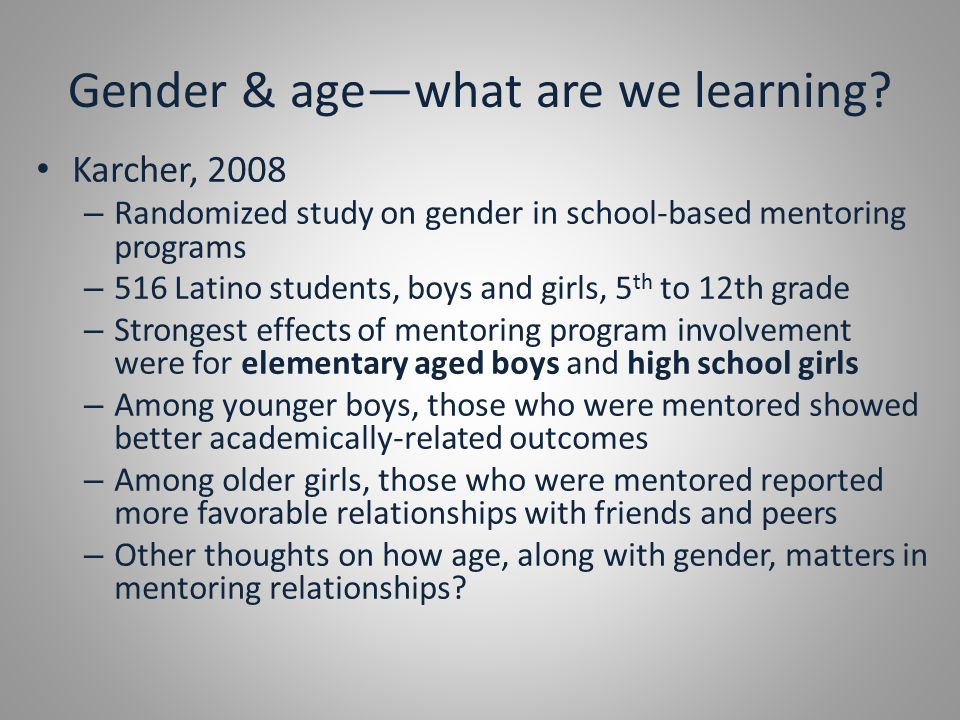 Gender & age—what are we learning.