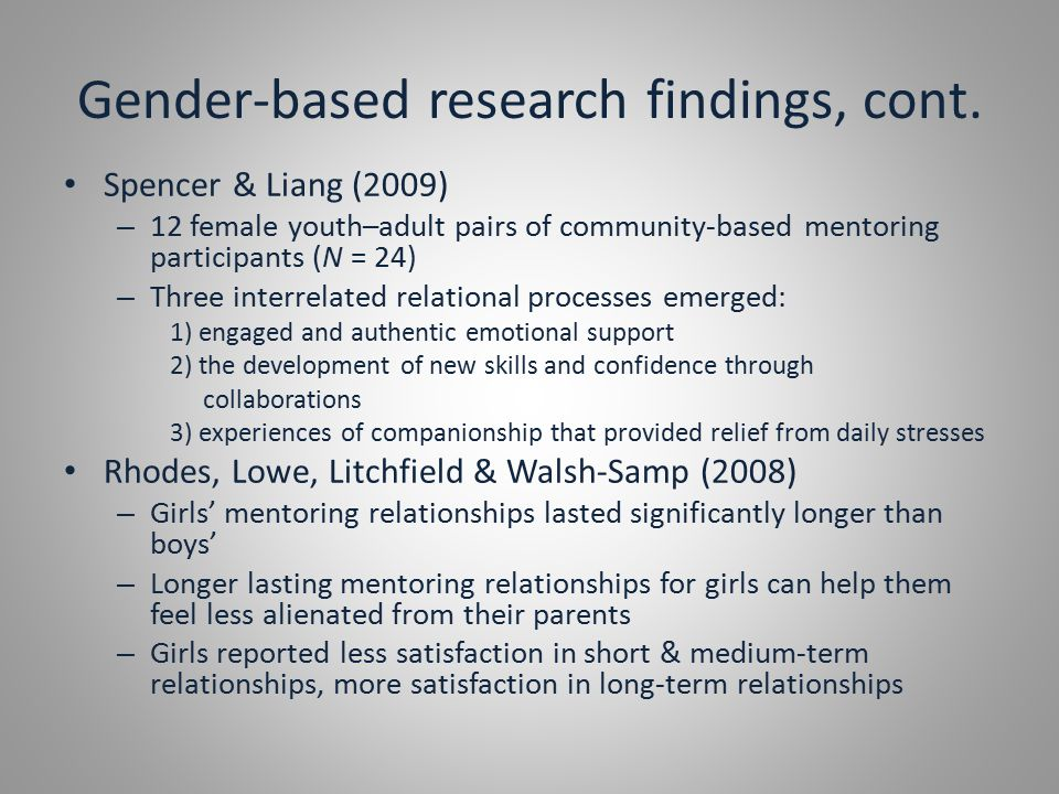 Gender-based research findings, cont.
