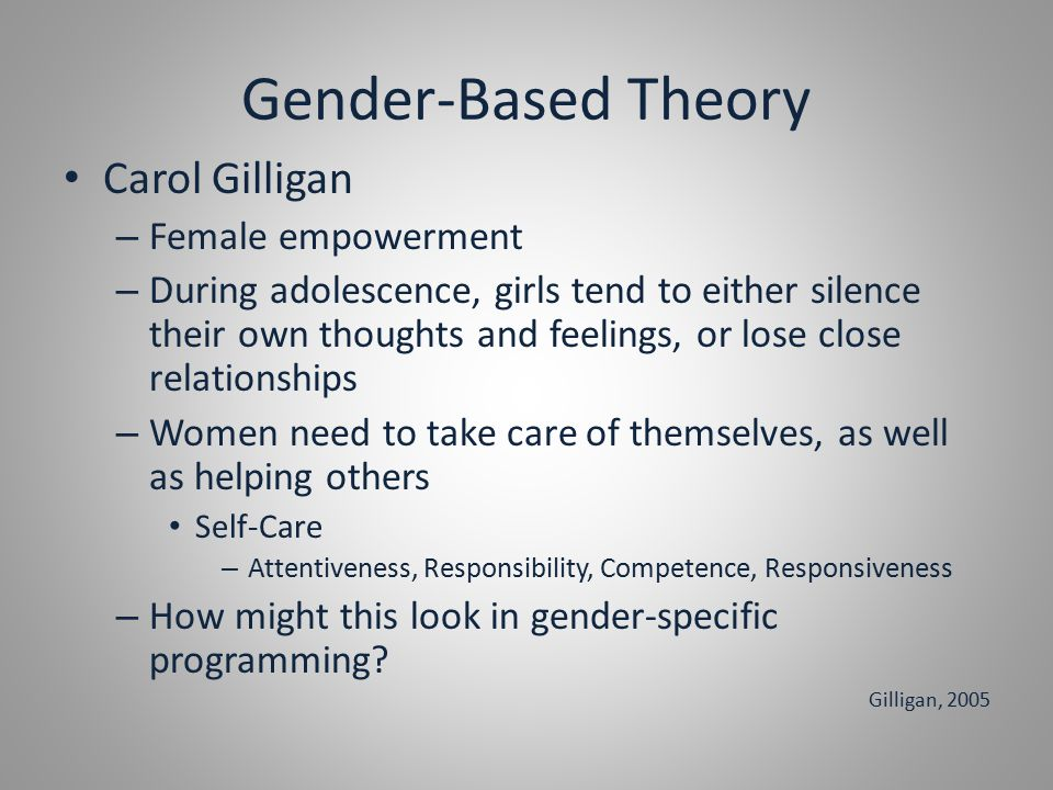 Gender-Based Theory Carol Gilligan – Female empowerment – During adolescence, girls tend to either silence their own thoughts and feelings, or lose close relationships – Women need to take care of themselves, as well as helping others Self-Care – Attentiveness, Responsibility, Competence, Responsiveness – How might this look in gender-specific programming.