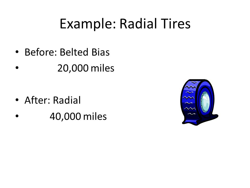 Example: Radial Tires Before: Belted Bias 20,000 miles After: Radial 40,000 miles