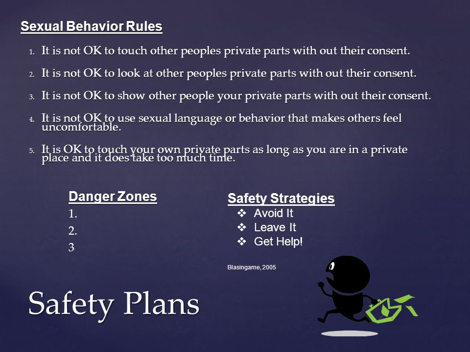 Safety Plans Danger Zones 1.2. 3 Sexual Behavior Rules 1.