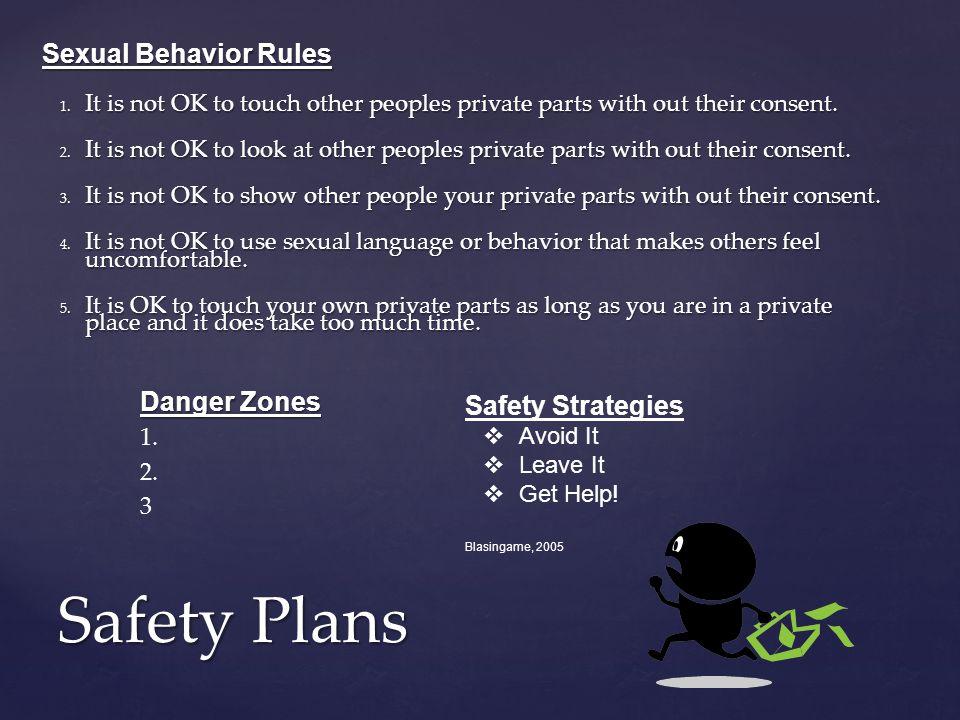 Safety Plans Danger Zones 1. 2. 3 Sexual Behavior Rules 1.