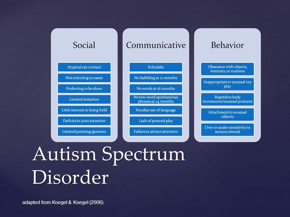 Autism Spectrum Disorder adapted from Koegel & Koegel (2006)