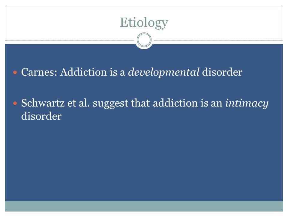 Etiology Carnes: Addiction is a developmental disorder Schwartz et al.