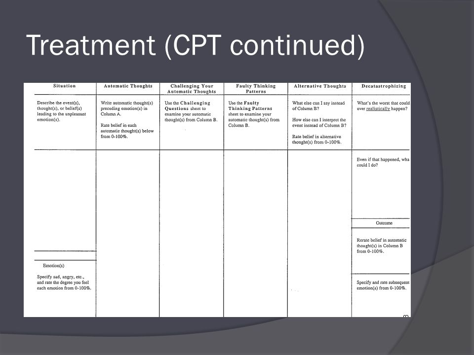 Treatment (CPT continued)