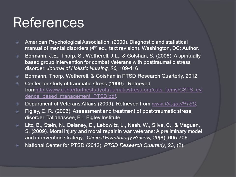 References  American Psychological Association. (2000).