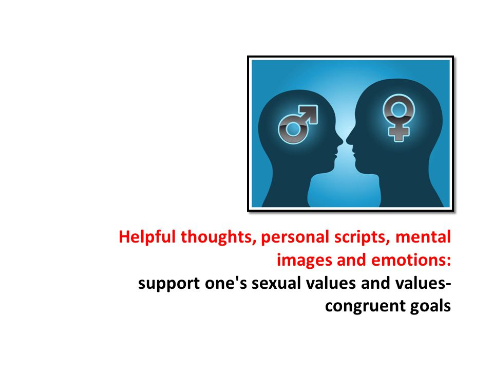 Helpful thoughts, personal scripts, mental images and emotions: support one s sexual values and values- congruent goals